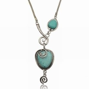 Jewelry - TURQUOISE STONE ~ SS PLATED NECKLACE
